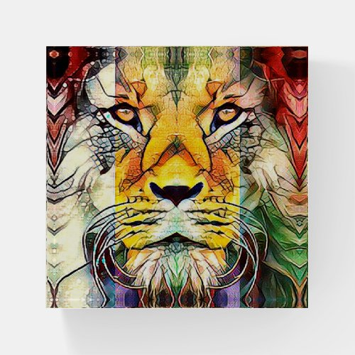 Colorful African Lion Creative Wildlife Pop Art Paperweight