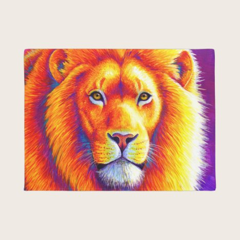 Colorful African Lion Door Mat