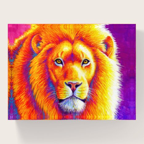 Colorful African Lion Glass Paperweight