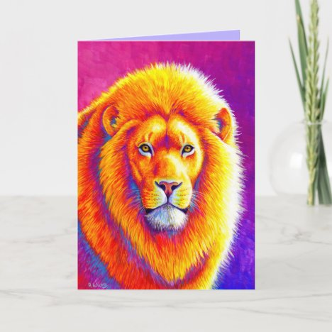 Colorful African Lion Greeting Card