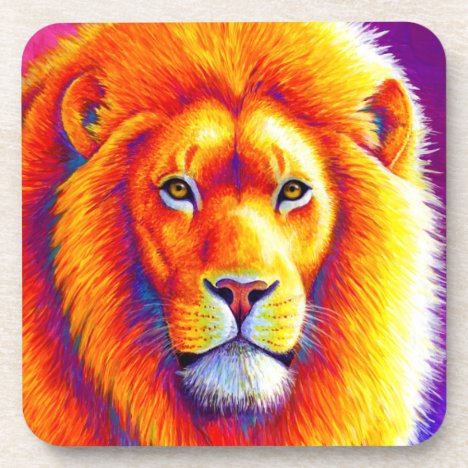 Colorful African Lion Plastic Coasters
