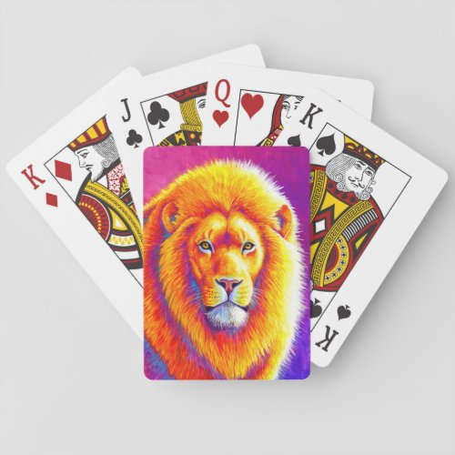 Colorful African Lion Playing Cards