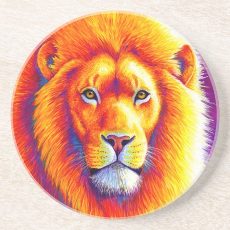 Colorful African Lion Round Stone Coaster