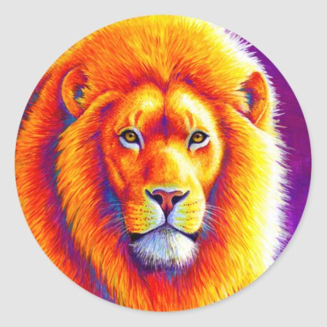 Colorful African Lion Sticker