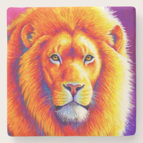Colorful African Lion Stone Coaster