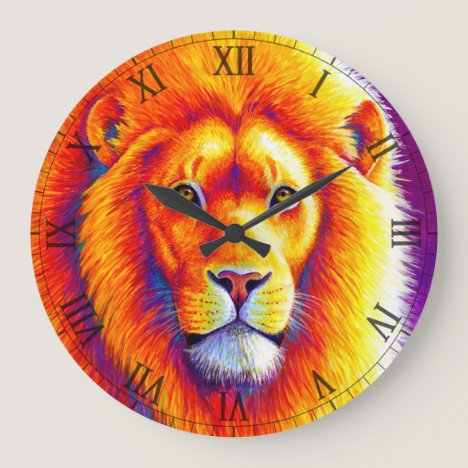 Colorful African Lion Wall Clock