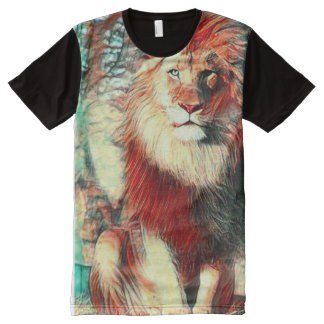 Colorful African Lion Wildlife Art All-Over-Print Shirt