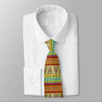 Colorful African Masks Stripe Kente Pattern Tie