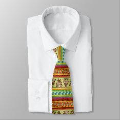 Colorful African Masks Stripe Kente Pattern Tie at Zazzle