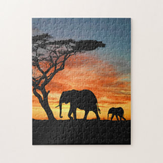 Colorful African Safari Sunset Elephant Silhouette Jigsaw Puzzle