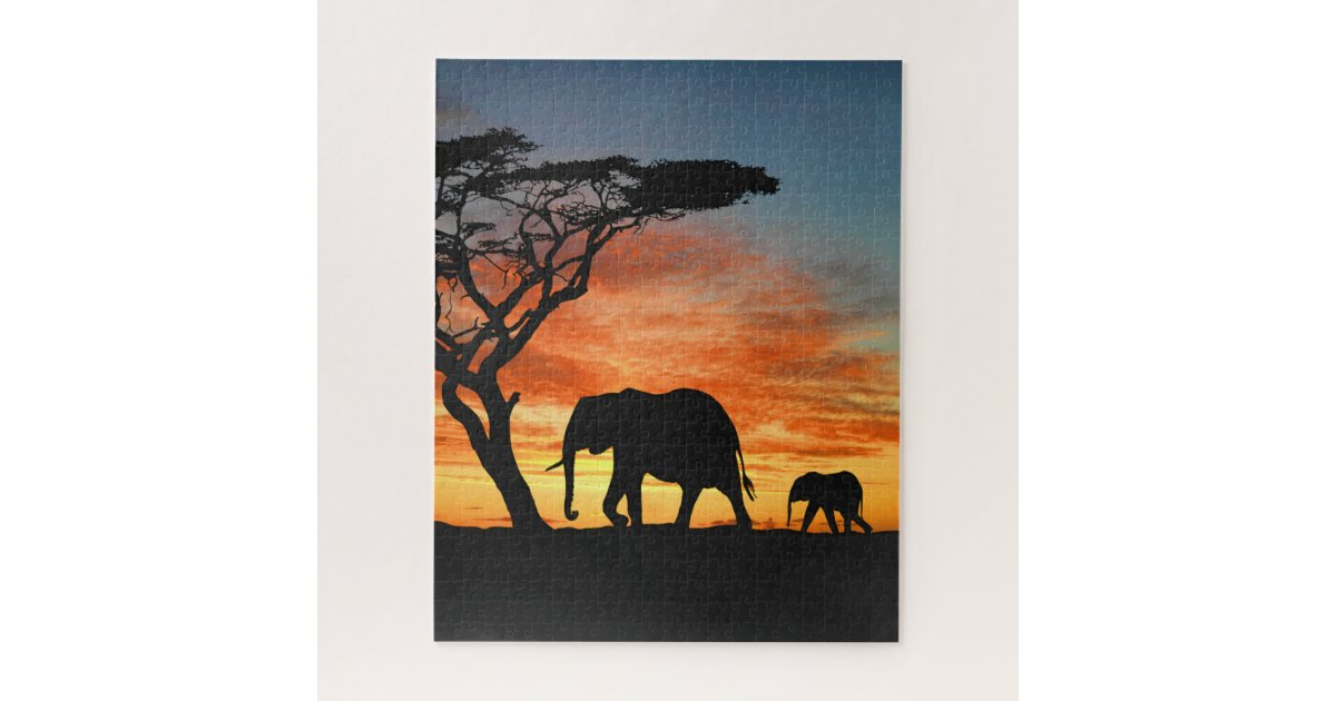 colorful african safari sunset elephant silhouette jigsaw puzzle zazzlecom