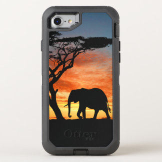 Colorful African Safari Sunset Elephant Silhouette OtterBox Defender iPhone 7 Case