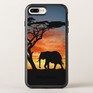 Colorful African Safari Sunset Elephant Silhouette OtterBox Symmetry iPhone 7 Plus Case