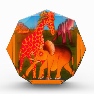 Colorful  African wild animal safari colors Acrylic Award