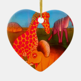 Colorful  African wild animal safari colors Ceramic Ornament
