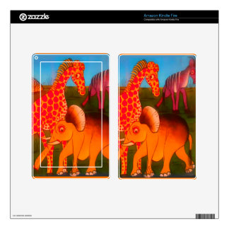 Colorful  African wild animal safari colors Decals For Kindle Fire