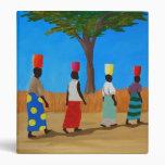 Colorful African Women carrying buckets Vinyl Binder