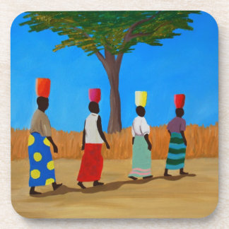 Colorful African Women carrying buckets Coaster