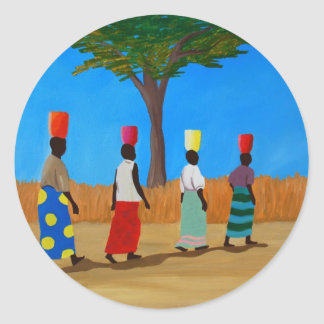 Colorful African Women carrying buckets Round Sticker
