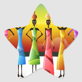 Colorful African Women with Vessels Star Sticker