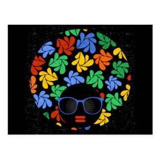 Colorful Afro Love Postcard