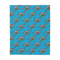 Colorful Airplane Pattern on Blue Fleece Blanket