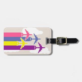 Colorful airplanes bag tag