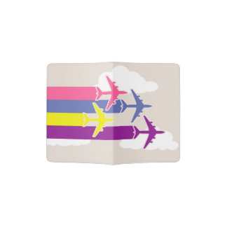 Colorful airplanes passport holder
