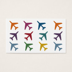 Colorful Airplanes Travel Business Cards at Zazzle