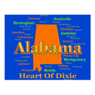 Colorful Alabama State Pride Map Postcard