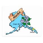 Colorful Alaska Map Tees and Gifts Postcard