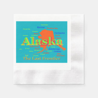 Colorful Alaska State Pride Map Silhouette Napkin