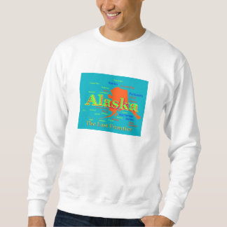 Colorful Alaska State Pride Map Silhouette Pullover Sweatshirts