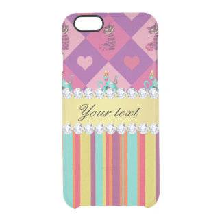 Colorful Alice in Wonderland and Stripes Clear iPhone 6/6S Case
