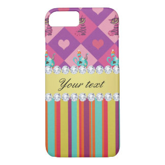 Colorful Alice in Wonderland and Stripes iPhone 7 Case