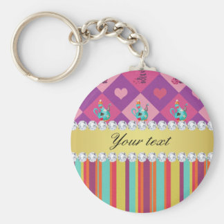 Colorful Alice in Wonderland and Stripes Keychain