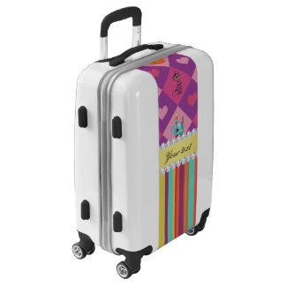 Colorful Alice in Wonderland and Stripes Luggage