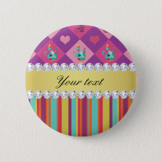 Colorful Alice in Wonderland and Stripes Pinback Button