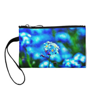 Colorful All Alone Blue Flower Key Coin Clutch