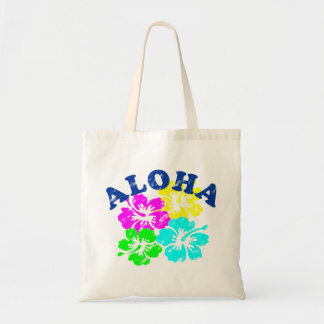 Colorful Aloha Vintage Tote Bag Hawaiian flowers