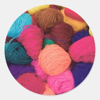 Colorful Alpaca Wool, Huaraz, Cordillera Blanca Classic Round Sticker