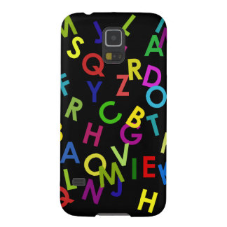 colorful alphabet letters over black galaxy s5 case