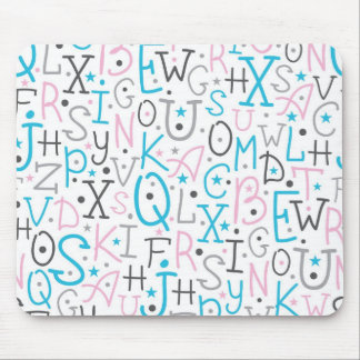 Colorful alphabet letters pattern mouse pads