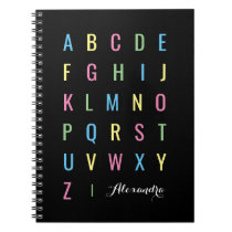 Colorful Alphabet on Black   Personalized Notebook