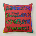 Colorful Alphabet - Top Color Is Burgundy Throw Pillow (<em>$49.60</em>)