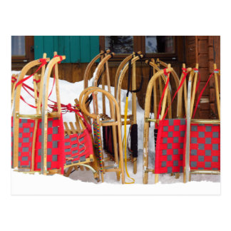 Colorful Alpine Wooden Sleds Postcard