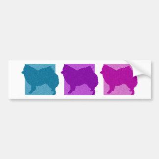 Colorful American Eskimo Dog Silhouettes Bumper Sticker