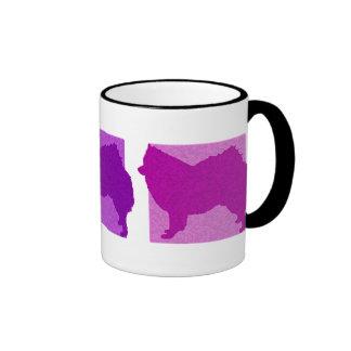 Colorful American Eskimo Dog Silhouettes Ringer Mug