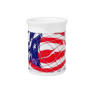 Colorful American Flag Colors Hillary for USA Pres Drink Pitcher