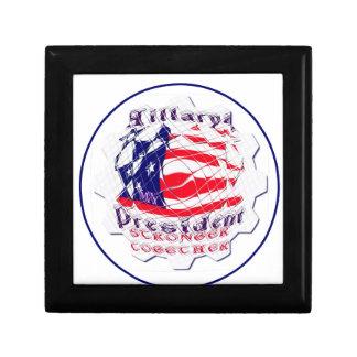 Colorful American Flag Colors Hillary for USA Pres Keepsake Box